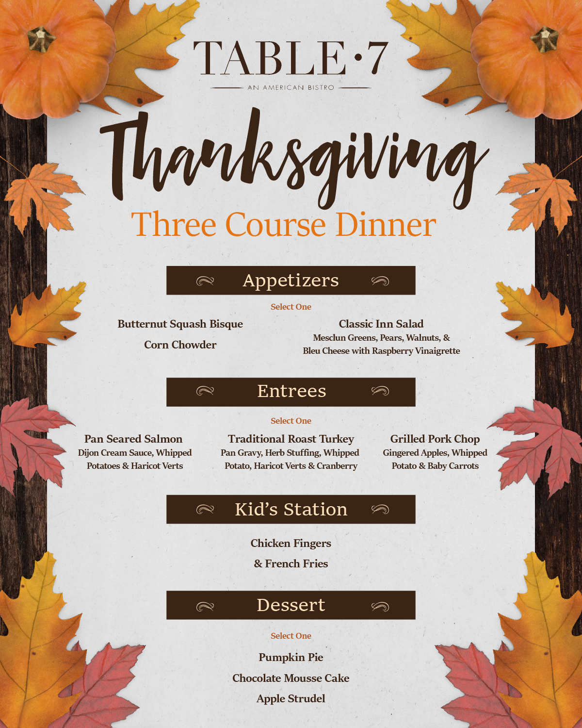 Thanksgiving Dinner at Table 7